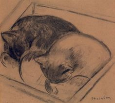 Two Sleeping Cats  Theophile-Alexandre Steinlen