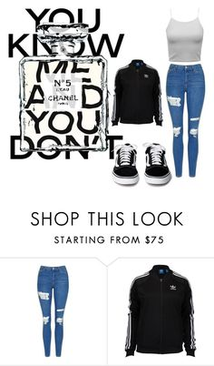 """""""you know me and you dont"""" by crakjow ❤ liked on Polyvore featuring Topshop, Chanel and adidas"""