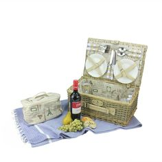 4-Person Hand Woven Scripted Graphical Warm Gray Natural Willow Picnic Basket Set with Accessories, Grey (Wood)