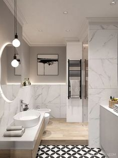 Modern Scandinavian Bathroom Interior In White Options Now there are lots of design solutions in the plan of apartments and houses. Scandinavian Bathroom Design Ideas, Scandinavian Style Home, Modern Bathroom Decor, Modern Room, Bathroom Ideas, Bathroom Organization, Bathroom Inspiration, Bath Ideas, Bathroom Storage