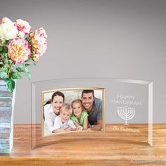 Personalized World's Greatest Mom Glass Picture Frame Jewish Festival Of Lights, Festival Lights, Hanukkah Gifts, Happy Hanukkah, Family Picture Frames, Glass Picture Frames, Unique Gifts For Mom, Curved Glass, Personalized Wedding Gifts