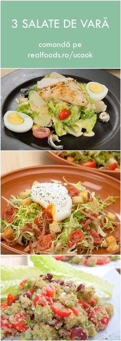 Săptămâna aceasta pe http://realfoods.ro/ucook: salată Caesar cu piept de pui și parmezan, salată Frisse cu bacon și ou poșat şi salată quinoa cu avocado și fasole roșie | Livrare 10-15 iulie 2017