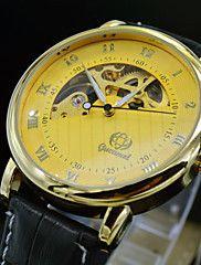 Fashion Brand Men Automatic Self Wind Auto Mechanical Watch Luxury Leather Golden Skeleton Dress Watches Man