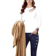 Allegra K Ladies Round Neck Front Hollow Out Hole Pullover Spring Casual Shirt White XS Allegra K. $9.44