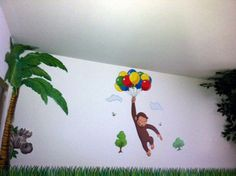 mistys jungle themed toddler bedroom with curious george wall decals