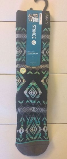 STANCE Sunchild Combed Cotton Casual 200 Socks Kids large 6-8.5  Green -glow #Stance #Casual