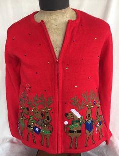 Ugly Light Up Sz L Christmas Sweater Reindeer Bells Bling Needs Battery Unisex #ChristopherBanks #Cardigan