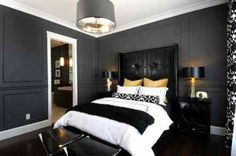 Black Leather Headboard - Design photos, ideas and inspiration. Amazing gallery of interior design and decorating ideas of Black Leather Headboard in bedrooms, boy's rooms by elite interior designers. Black Bedroom Design, Bedroom Designs, Bedroom Ideas, Bedroom Black, Charcoal Bedroom, Gothic Bedroom, Charcoal Gray, Charcoal Walls, Black White And Gold Bedroom