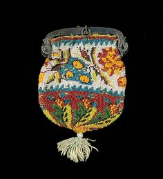 Coin Purse Made Of Glass Beads, Silk And Metal - American c. 4th Quarter 19th Century - The Metropolitan Museum Of Art