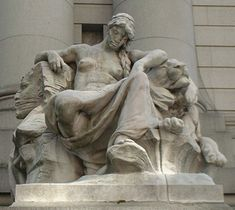 "Daniel Chester French: Continents: ""Africa"". found at the Old U. S. Custom House, New York City, New York; this view shows ""Africa"" sleeping which was a common way of referring to that continent; her right arm rests on Sphinx of Egypt; her left arm resting on a sleeping African lion."