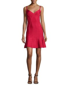 Flounce-Skirt+Bandage+Dress,+Lipstick+Red+by+Herve+Leger+at+Neiman+Marcus.