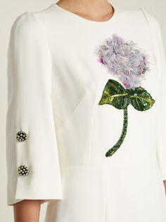 Sequin-embellished flower-appliqué cady dress   Dolce & Gabbana   MATCHESFASHION.COM