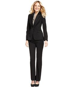 Anne Klein Suit, Single-Button Jacket, Striped Shell & Straight-Leg Pants - Womens Suits & Suit Separates - Macy's