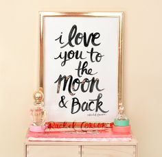 I LOVE You to the MOON and Back Typographic by Rachillustrates