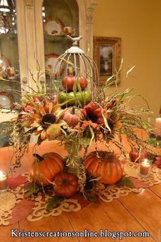 DIY Fall Centerpiece IdeasFall is one our favorite times of the year. Fall Arrangements, Autumn Decorating, Decorating Ideas, Fall Table, Fall Home Decor, Fall Wreaths, Fall Harvest, Harvest Time, Thanksgiving Decorations