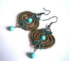 Macrame earrings/Turquoise bead earrings/Gemstone earrings/Bohemian jewelry/Macrame jewerly