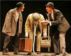 Vladimir and Estragon are confused and baffled by Lucky the slave. They are trying to ask him why he doesnt sit down or rest. They try and ask Pozzo but he has no answers for them and tells them just to ask Lucky himself.