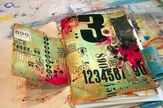 Donna Downey journal page - fabulous layers, includes technique video - awesome!