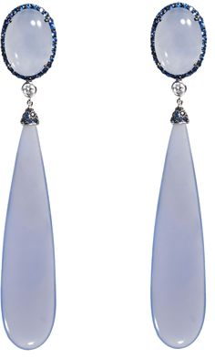 Sidney Garber Chalcedony Drop Earrings with Sapphires & Diamonds