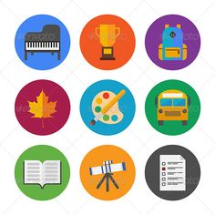 Education Icons Set ...  astronomy, award, backpack, bag, book, bus, college, drawing, education, educational, equipment, icon, learn, learning, music, object, paint, paintbrush, piano, pictogram, prize, school, set, sign, stuff, symbol, test, textbook, university, vector