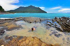 Amongst the rocks at Sabang Beach, Palawan, Philippines