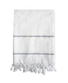 Fouta White-Charcoal Stripe Throw