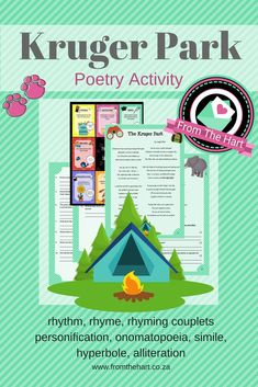A comprehensive activity that can be used as a formal or informal assessment. - a poem about an authentic safari trip to the Kruger Park - A 'figures of speech' helper page - tests the students knowledge on rhythm, rhyme scheme, rhyming couplets, personi Poetry Activities, Speech Activities, Writing Poetry, Poetry Books, Great Poems, Figure Of Speech, Alliteration, Teaching Aids, Primary Classroom