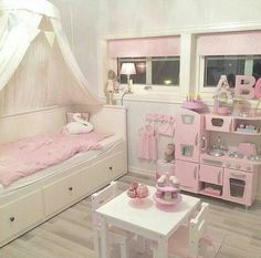 Girl bedroom remodel tips. It is preferable to use wallpaper for a Girl's bedroom with light-neutral Toddler Rooms, Toddler Bed, Toddler Girl Bedrooms, Kids Rooms, Girls Bedroom, Bedroom Decor, Bedroom Ideas, Ikea Girls Room, Dream Bedroom