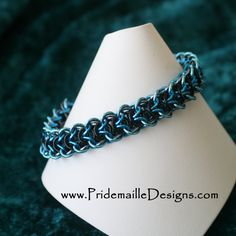 Elfweave Bracelet - Blue Black and Gunmetal - Chainmaille Jewelry. $38.00, via Etsy.