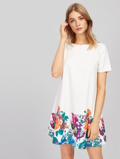 994b77f912ea5 SheIn offers Flower Print Short Sleeve Dress & more to fit your fashionable  needs.