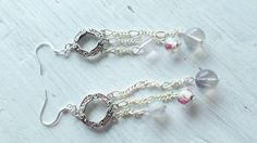 Swarovski crystal chandelier with purple fluorite and rosebud glass bead drop earrings