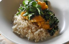 Red Thai curry with pumpkin, eggplant and kale