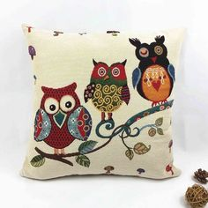 Owl Printed Cushion Home Decor 17x17'' Linen & Polyester Decorative 1Pcs