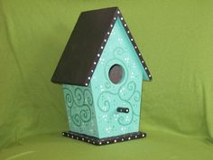 Hand Painted Birdhouse - NESTING IN BLUE -move in ready. $18.00, via Etsy.