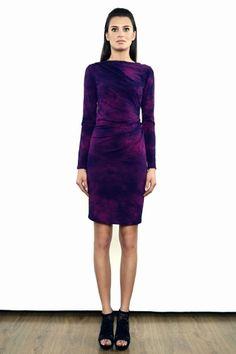 Mili - Ręcznie farbowana sukienka z marszczeniami amarant/fiolet