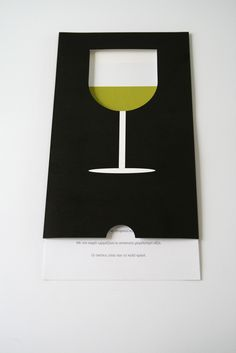 Die-cut direct mail. Wine glass empties as you remove the invite.