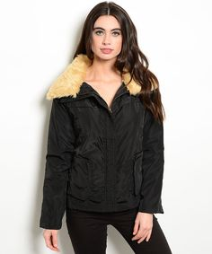 This jacket features a zipper closure, faux fur collar and convenient pocket details. - -- Spring Summer Fall Winter Fashion. www.psiloveyoumoreboutique.com