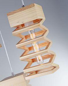Exclusive Design Island Light with 3 Rectangular Wood Frames