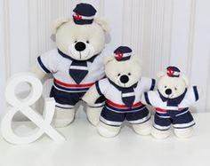 Trio de Mini Ursos Marinheiros