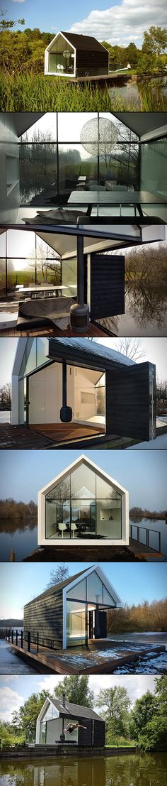 If it wasn't cool enough to be in the Netherlands, situated somewhere on an island in the lake of Loosdrecht, it's even cooler to be chillin in this Recreational Island House by 2b4-architects.  This completely customized house interacts with the environment in some very impressive ways. On a hot day, the northern facade opens up toward the water while the living room's wooden floor becomes a jetty. There's a free hanging fireplace with a lounge area surrounding it, and it can be rotated ...