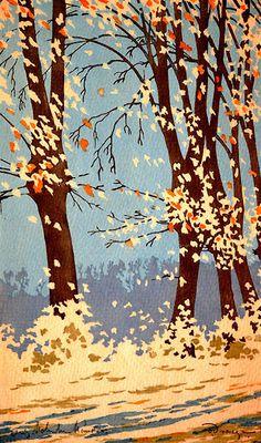 ✨ Oscar Droege (1898-1983) - Fallendes Herbstlaub, Farb-Holzschnitt ::: Falling Autumnal Foliage, Colour Woodcut