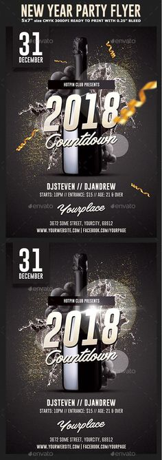 New Year Flyer and Poster Bundle Event flyers, Template and - new year poster template