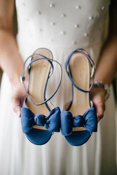 Navy Blue Kate Spade Bridal Shoes | Emily Wren Photography | TheKnot.com
