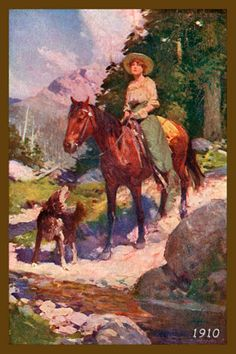 Cowgirl on Horse and Dog 1910. Vintage postcard image printed on cotton by American Quilt Blocks. Ready to sew.  Single 4x6 block $4.95. Set of 4 blocks with pattern $17.95.