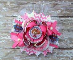 Over the Top Stacked Hair Bow, Paw Patrol, Skye Stacked Hair Bow, Girls Hair Bows, Pink, and White Hair Clip