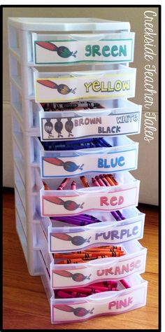 Crayon Organizational Labels Creekside Teacher Tales but could be used to organize markers, construction paper, color pencils, color groups of any kind!