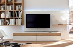 Living Room Designs, White And Wood Modern Media Unit: Wooden Finish Wall Unit Combinations from Hulsta