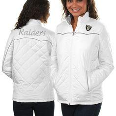 Oakland Raiders Ladies Spectator Quilted Full Zip Jacket - White
