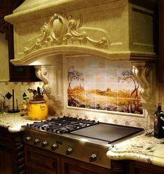 Fields of Tuscany kitchen backsplash stone hood peterson