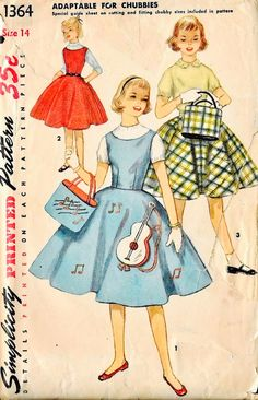 Vintage girls' Simplicity sewing pattern 1564 jumper with guitar appliqué.
